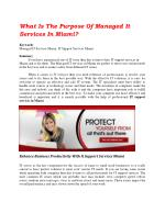 What Is The Purpose Of Managed It Services In Miami?