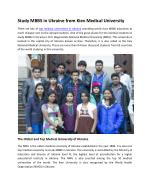 Study World Class MBBS Course in Ukraine at Low Cost