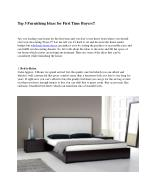 Top 5 Furnishing Ideas for First Time Buyers!!