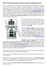 Why You Should Upgrade to Modern Snacks Packaging Machines?