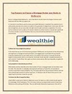 Wealthie - Top Reasons to Choose a Mortgage Broker over Banks in Melbourne