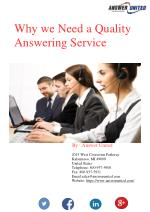 Why we Need a Quality Answering Service
