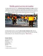 Mobile Patrol Services London - 1st nationwide security