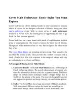 Cover Male Underwear - Exotic Styles You Must Explore