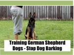Training German Shepherd Dogs - Stop Dog Barking