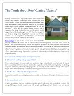 """The Truth about Roof Coating """"Scams"""""""