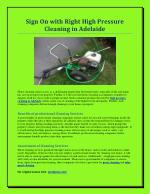 Sign On with Right High Pressure Cleaning in Adelaide