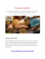 Massages for Body Pain