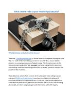 What are the risks to your Mobile App Security?
