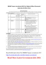 NRHM Tripura Recruitment 2015 for Medical Officer Pharmacist Laboratory & Other Posts