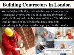 Building contractors in London
