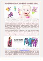 Wholesale Suppliers Claim to Be the Best Means for Kids' Character Clothings