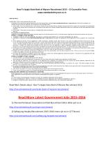 How to Apply State Bank of Mysore Recruitment 2015 – 13 Counsellor Posts Www.statebankofmysore.co.In