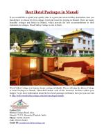 Best Hotel Packages in Manali, India