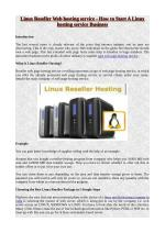 Linux reseller web hosting service how to start a linux hosting service business
