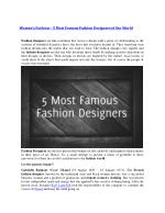 Women's Fashion – 5 Most Famous Fashion Designers of the World