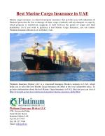 Best Marine Cargo Insurance in UAE