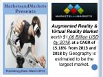 Augmented Reality & Virtual Reality Market - 2018