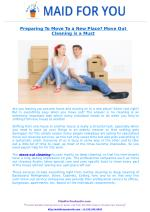 Preparing To Move To a New Place? Move Out Cleaning is a Must!