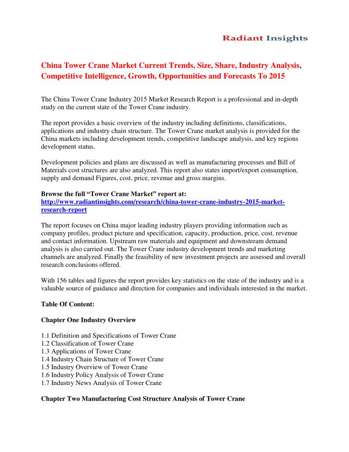 PPT - China Tower Crane Market Analysis And Forecasts To