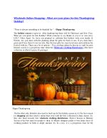 Wholesale Online Shopping – What are your plans for this Thanksgiving Holiday?
