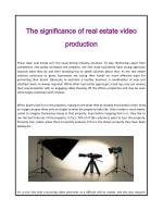 The significance of real estate video production