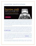 Loan Against Watches – Approach Your Local Pawnshop