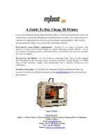 A Guide To Buy Cheap 3D Printer