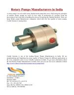 Rotary Pumps Manufacturers in India