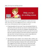 Baby care tips for working women
