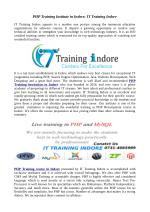 IT Training Indore- Best PHP training Institute in Indore