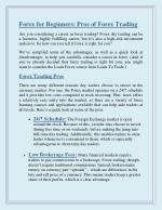 Forex for Beginners: Pros of Forex Trading