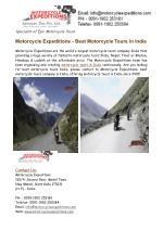 Best Motorcycle Adventure Tours India