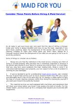 Consider These Points Before Hiring A Maid Service