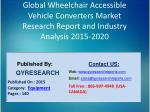 Global Wheelchair Accessible Vehicle Converters Market 2015 Industry Forecasts, Analysis, Applications, Research, Study,