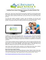 Leading Green Carpet Cleaning Company Provides Residue-Free Cleaners