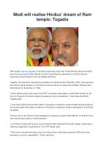 Modi will realise Hindus' dream of Ram temple: Togadia