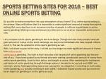 Sports Betting Sites for 2016 – Best Online Sports Betting
