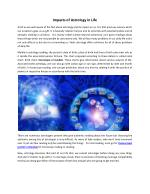 Impacts of Astrology in Life