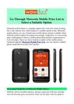Motorola Price List in India