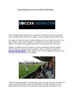 Sports betting advice for successful football betting