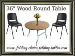 """36"""" Wood Round Table - Folding Chairs Tables Larry"""