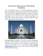 Tour and Travels in Agra to Get the Dream Destination