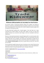 Wholesale Clothing Suppliers Let You Design Your Own Products