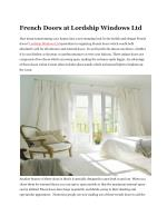 French Doors at Lordship Windows Ltd