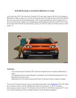 KUV100 Booking is started by Mahindra in India