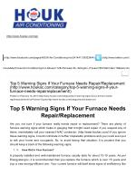 Top 5 Warning Signs If Your Furnace Needs Repair-Replacement