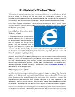 IE11 Updates For Windows 7 Users