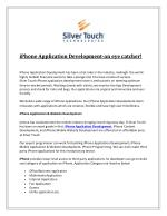 iPhone Application Development-an eye catcher!