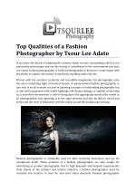 Top Qualities of a Fashion Photographer by Tsour Lee Adato